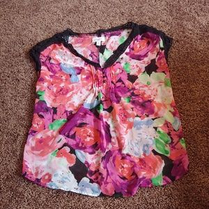 Candies gently worn semi sheer floral t-shirt